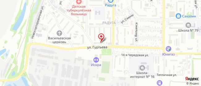 Карта расположения пункта доставки Омск Гуртьева в городе Омск