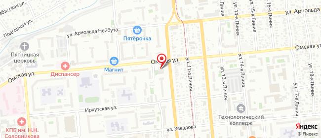 Карта расположения пункта доставки Халва в городе Омск