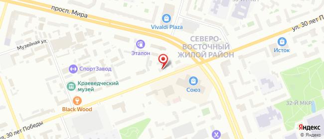 Карта расположения пункта доставки Ростелеком в городе Сургут