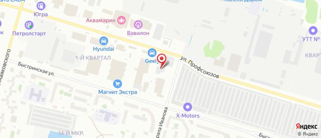 Карта расположения пункта доставки На Профсоюзов в городе Сургут