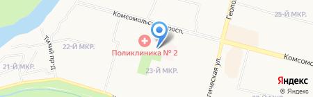 60-параллель на карте Сургута