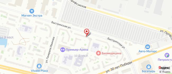 Карта расположения пункта доставки Сургут Быстринская в городе Сургут