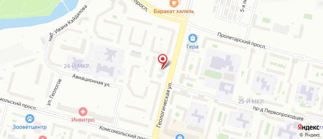 Карта расположения пункта доставки На Геологической в городе Сургут