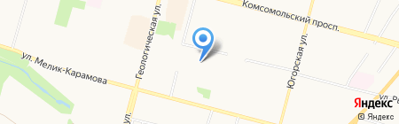 Продуктовый магазин на Взлётном проезде на карте Сургута