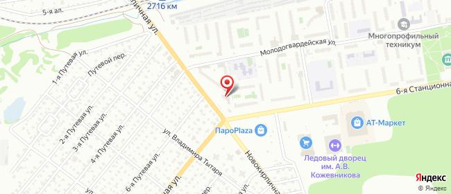 Карта расположения пункта доставки Омск Новокирпичная в городе Омск