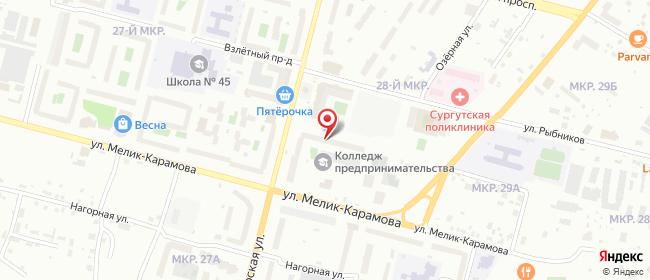 Карта расположения пункта доставки Сургут Югорская в городе Сургут