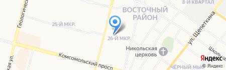 Автостоянка на Югорской на карте Сургута