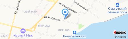 Кантык-Ях на карте Сургута