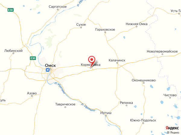 поселок городского типа Кормиловка на карте
