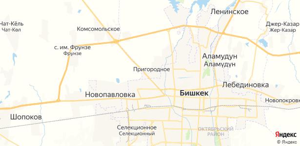 Пригородное на карте
