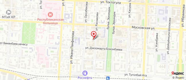 Карта расположения пункта доставки На Раззакова в городе Бишкек