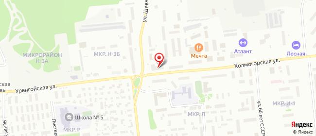 Карта расположения пункта доставки Ноябрьск Холмогорская в городе Ноябрьск