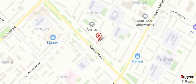 Карта расположения пункта доставки Ноябрьск Мира в городе Ноябрьск