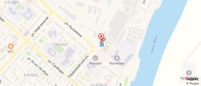 Карта расположения пункта доставки Мегион Кузьмина в городе Мегион