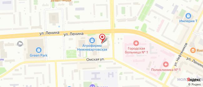 Карта расположения пункта доставки Ростелеком в городе Нижневартовск