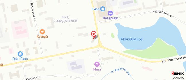 Карта расположения пункта доставки Новый Уренгой Юбилейная в городе Новый Уренгой