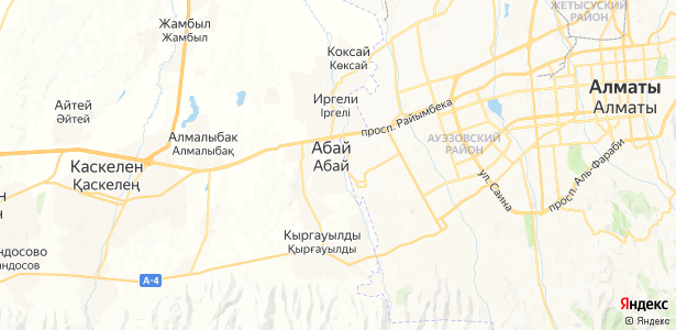 Абай на карте