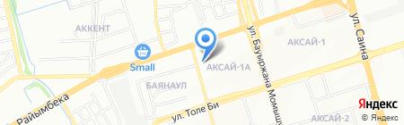 Автомойка на ул. Аксай 1а микрорайон на карте Алматы
