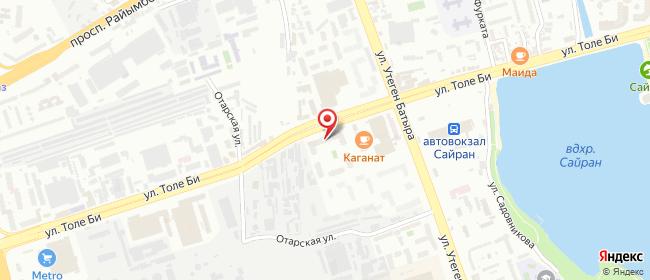Карта расположения пункта доставки MyPost в городе Алматы