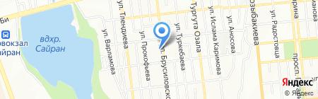 Продовольственный магазин на ул. Брусиловского на карте Алматы