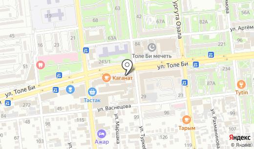 Kaspi bank. Схема проезда в Алматы