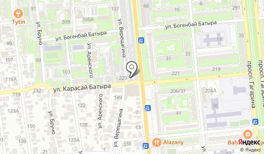 Розыбакиева-1 автостоянка. Схема проезда в Алматы