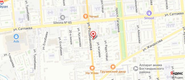 Карта расположения пункта доставки На Розыбакиева в городе Алматы