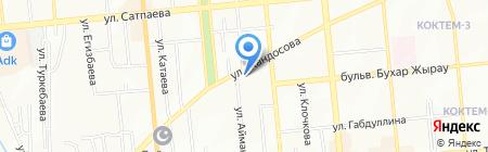 Бирлик на карте Алматы