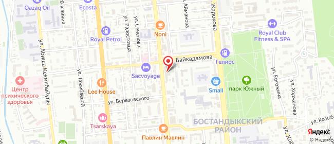 Карта расположения пункта доставки ПВЗ На Гагарина в городе Алматы