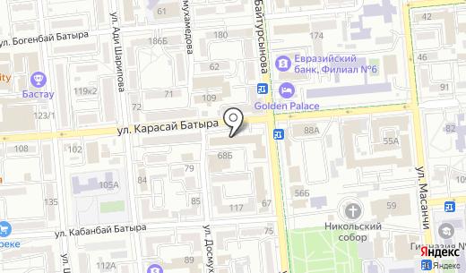 Allepo City Grill. Схема проезда в Алматы