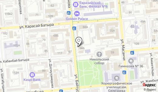 Айсулу. Схема проезда в Алматы