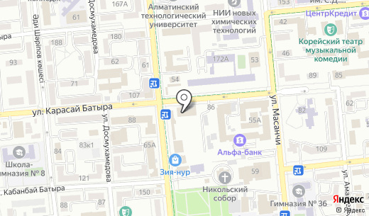 Алга. Схема проезда в Алматы