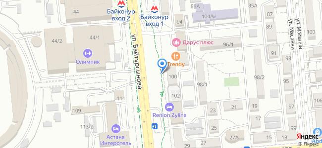 """ул. Байтурсынова, 100 (парковка напротив гостиницы """"Астана"""")"""