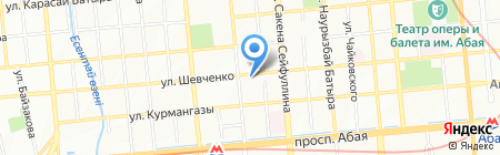 Вечерний Алматы на карте Алматы