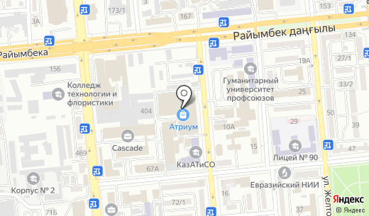 Finn Flare. Схема проезда в Алматы