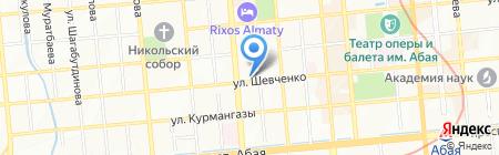 Автостоянка на ул. Шевченко на карте Алматы