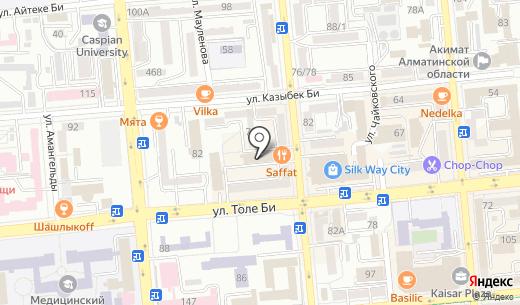 Нотариус Кызаева А.Д.. Схема проезда в Алматы