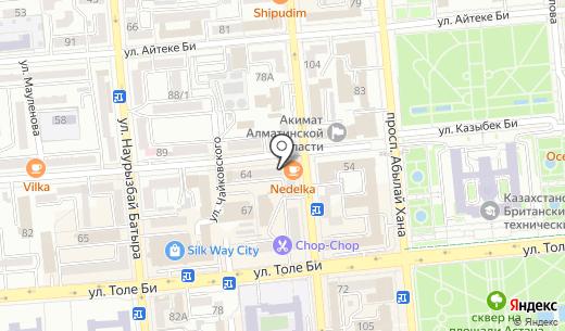 Общественное объединение милосердия и здоровья Республики Казахстан. Схема проезда в Алматы