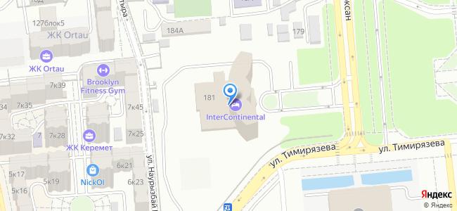 Гостиница InterContinental Almaty, ул. Желтоксан 181 (уг. ул. Тимирязева)