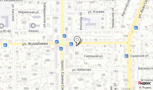 Продовольственный магазин на ул. Жумабаева. Схема проезда в Алматы