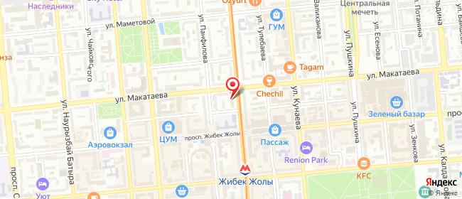 Карта расположения пункта доставки Назарбаева, 65 в городе Алматы