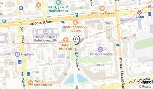 L`Oiseau Bleu-Swiss Travel Services. Схема проезда в Алматы