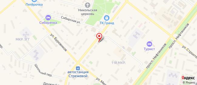 Карта расположения пункта доставки Стрежевой Ермакова в городе Стрежевой