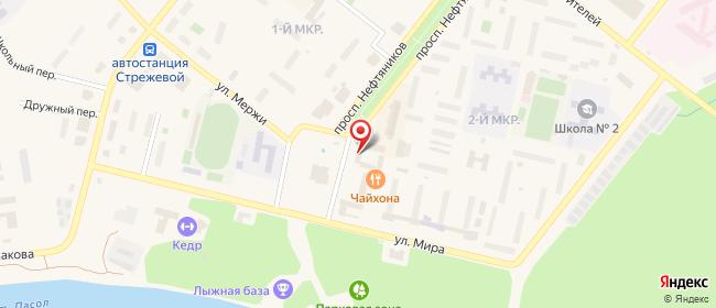 Карта расположения пункта доставки Ростелеком в городе Стрежевой
