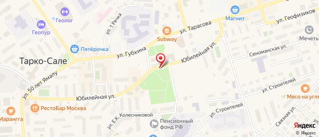 Карта расположения пункта доставки На Юбилейной в городе Тарко-Сале