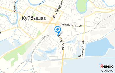 Местоположение на карте пункта техосмотра по адресу Новосибирская обл, Куйбышевский р-н, г Куйбышев, ул Гуляева, д 11Б