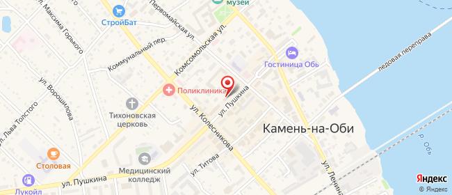 Карта расположения пункта доставки Ростелеком в городе Камень-на-Оби