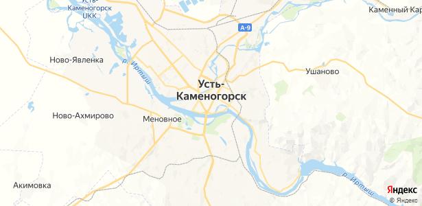 Усть-Каменогорск на карте