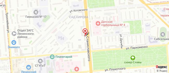 Карта расположения пункта доставки Новосибирск Станиславского в городе Новосибирск