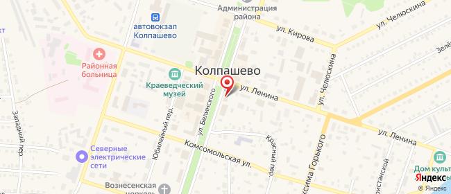 Карта расположения пункта доставки Ростелеком в городе Колпашево